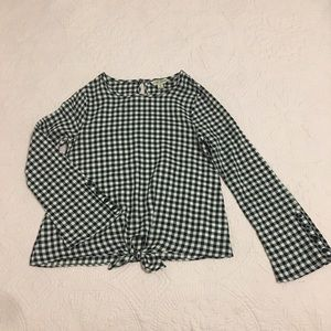 NWOT Lucky Brand Plaid Bell Sleeved Twist Knot Top